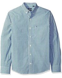 Izod - Slim Fit Button Down Long Sleeve Stretch Performance Tattersal Shirt - Lyst