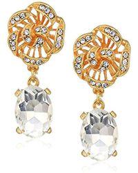 Badgley Mischka - Flower Top Crystal Gold Drop Earrings, One Size - Lyst