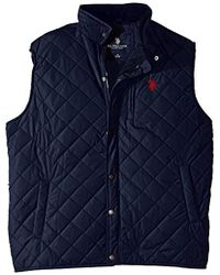 U.S. POLO ASSN. - Big-tall Diamond Quilted Vest With Corduroy Collar - Lyst