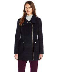 Ellen Tracy - Outerwear Zip Up Plaid/herringbone Wool Coat - Lyst