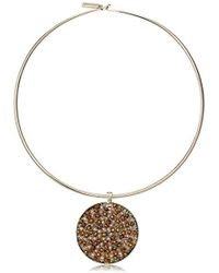 """Kenneth Cole - """"multi-color"""" Gold Collar Necklace With Woven Pendant Necklace - Lyst"""