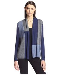 SOCIETY NEW YORK - Colorblocked Open Cashmere Cardigan - Lyst