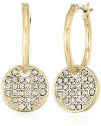 T Tahari - Btgd Pave Disc On Hp Drop Earrings, Gold - Lyst