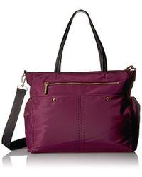 MILLY - Sold Stitch Diaper Bag, Burgundy - Lyst