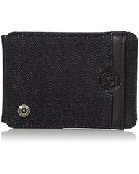 Lee Jeans - Canvas And Leather Front Pocket Rfid Blocking Wallet - Lyst