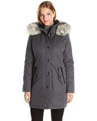 Kensie - Bonded Button Up Parka With Faux Fur Trimmed Fully Removable Hood - Lyst