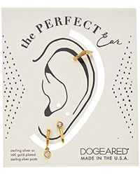 Dogeared - Gold The Perfect Ear Pack Of 3 Single Earring Set- Stud/double Loop/smooth Cuff - Lyst