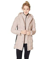 Calvin Klein - Traditional Puffer Jacket With Bib Insert And Knit Panel Sides - Lyst