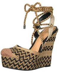 d390ad77cc1 Lyst - Schutz Mella Lace-Up Leather Wedge Sandals in Brown