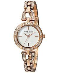 Anne Klein - Ak/3152mprg Swarovski Crystal Accented Rose Gold-tone Bracelet Watch - Lyst