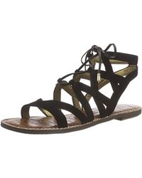 3eef3766b41186 Lyst - Sam Edelman Gemma Suede Flat Lace-up Sandal in Black