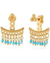 Satya Jewelry - Turquoise Petal Gold Chandelier Earrings Jackets - Lyst