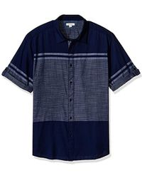 Calvin Klein - Jeans Short Sleeve Roll Tab Engineered Stripe Button Down Shirt - Lyst