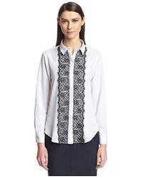 SOCIETY NEW YORK - Lace Trim Shirt - Lyst