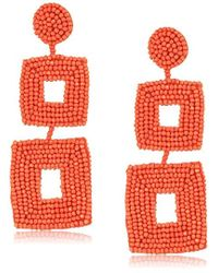Kenneth Jay Lane - Coral Seed Bead Earrings - Lyst