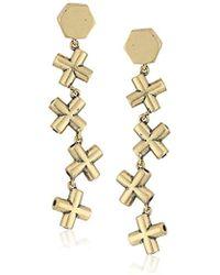 """Nicole Miller - """"artelier"""" Mini Crossbar Line Burnished Gold Drop Earrings - Lyst"""