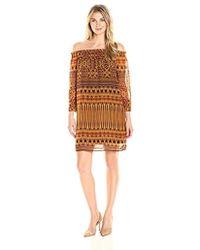 James & Erin - Long-sleeve Off-the-shoulder Smocked Dress - Lyst