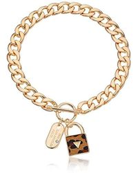 """Guess - """"basic Gold Dogtag And Padlock Pendant Necklace - Lyst"""