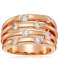 """Guess - """"basic Look Of 4 Band With Stones Ring, Size 7 - Lyst"""