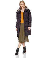 London Fog - Horizontal Quilt Snap Front Down Coat With Faux Fur Collar - Lyst