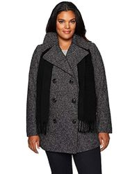 London Fog - Plus Size Double Breasted Peacoat With Scarf - Lyst
