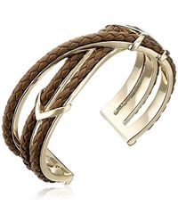 "Cole Haan - ""leather Items"" Brown Chevron Metal And Braided Cuff Bracelet - Lyst"