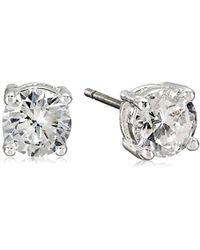 "Nine West - ""classics"" Silver-tone Cubic Zirconia Stud Earrings - Lyst"