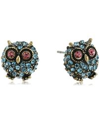 """Betsey Johnson - """"betsey's Delicates"""" Pave Owl Stud Earrings - Lyst"""