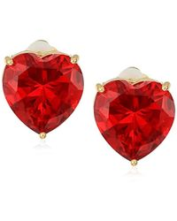 T Tahari - Uptown Jewels Btgd Siam Heart Stud Clip-on Earrings, Color Gold, One Size - Lyst