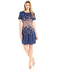 Lark & Ro - Short Sleeve Center-gather Fit And Flare Dress - Lyst