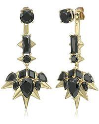 Noir Jewelry - Blizzard Gold And Black Drop Earrings - Lyst