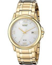 Citizen - Eco-drive Goldtone And White Watch - Lyst