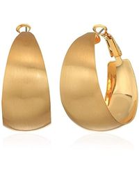 Rebecca Minkoff - Wide Textured Gold Hoop Earrings - Lyst