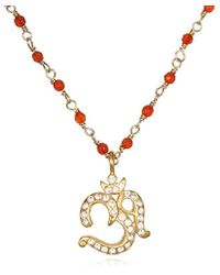 Satya Jewelry - Carnelian Gold Om Pendant Necklace 18-inch, Orange, One Size - Lyst