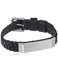 Fossil - Vintage Casual Black Braided Bracelet - Lyst