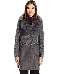 e091dec52 Cinq À Sept Darby Reversible Long Fur Coat in Black - Lyst