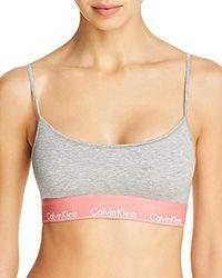 28177eff5115a Calvin Klein - Modern Cotton Skinny Strap Bralette - Lyst