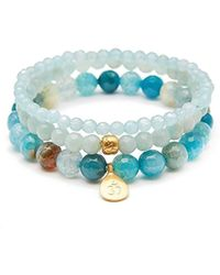 Satya Jewelry - Blue Agate And Angelite Gold Om Lotus Stretch Bracelet Set, One Size - Lyst