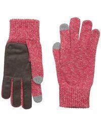 True Religion - Two Tone Knit Touchtek Gloves, True Red, One Size - Lyst
