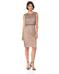 Adrianna Papell - Classy Subtle Beaded Cocktail Dress With Ruffle Skirt - Lyst