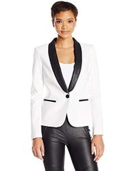 James Jeans - Tuxedo Jacket With Faux-leather Lapels In Ivory Black Ponte - Lyst