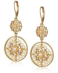 Anne Klein - Gold Tone Pearl Drop Earrings, Size: 0 - Lyst