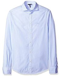 Armani Jeans - Striped/check Basic Long Sleeve Button Down Shirt - Lyst