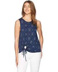 Lucky Brand - Printed Tie Front Tank Top - Lyst