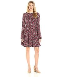 James & Erin - Piped Knit Flare Dress - Lyst