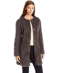 Via Spiga - Mid-length Reversible Faux Fur Curly Coat - Lyst