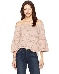 02ffecf07fab18 Lucky Brand - Eyelet Off The Shoulder Top - Lyst