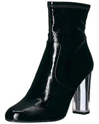 7f80ddd4b Lyst - Steve Madden Bonus Patent Platform Ankle Boots in Black