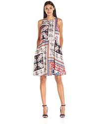 Donna Morgan - Sleeveless Scarf-print Twill Fit-and-flare Dress - Lyst