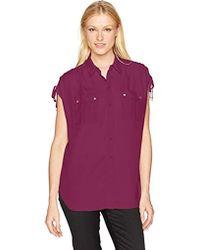 Jones New York - Button Up Shirt W/cording On Shoulder - Lyst